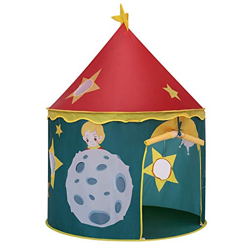 SONGMICS Spielzelt für Kleinkinder, Spielhaus für innen und außen, tragbares Pop-up Indianerzelt mit Tragetasche, Spielhaus zum Thema Raketen und Raumschiffe, Privatraum für bis zu 3 Kinder LPT02JR