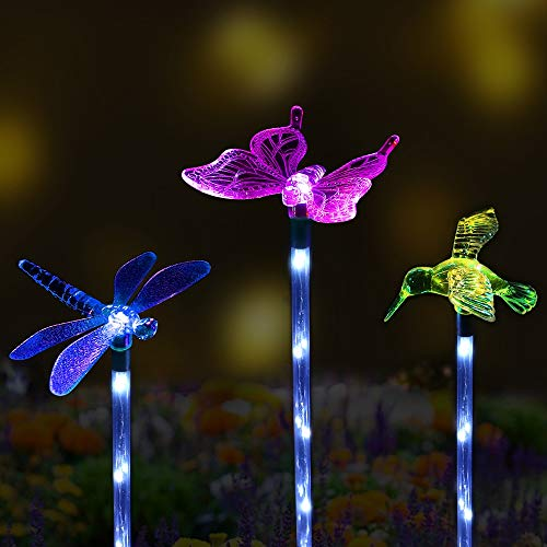 Solar Garden Stake Lights Outdoor Sooreally Color Changing Solar Powered LED Lights Decorative Waterproof Night Lights for Patio Lawn Backyard 3 Pack (Butterfly Dragonfly Hummingbird) -