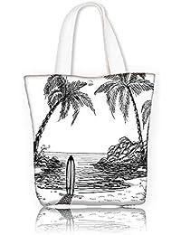 Bolsa de mano de lona para hombro, diseño de surf con olas de sol y océano, cultura polinesia, deportes naturales,…