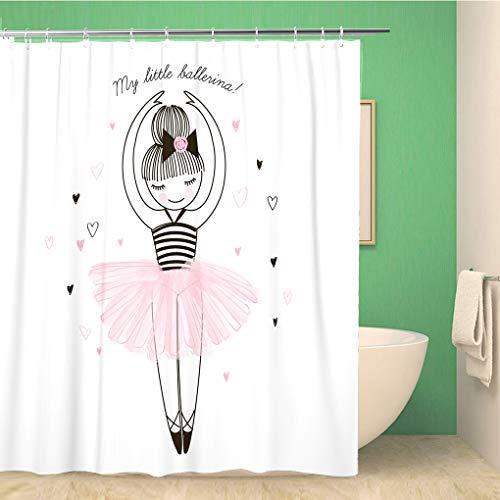 Awowee Decor Duschvorhang Prinzessin niedliche kleine Ballerina Doodle Kinderzimmer Baby Mädchen Tee 180 x 180 cm Polyester Stoff wasserdicht Badvorhänge Set mit Haken für Badezimmer -