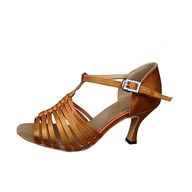 Scarpe da ballo-Personalizzabile-Da donna-Balli latino-americani Jazz Salsa Scarpe da swing-Tacco su misura-Raso-Kaki Khaki