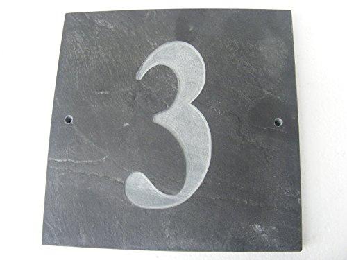 Numéro 3 naturel gris ardoise Maison Numéro de porte 15,2 x 15,2 cm Gravure profonde naturel Surface Plaque Maison réchauffement cadeau (150 x 150 mm) N ° 3