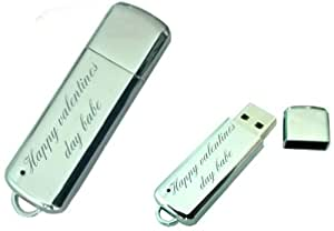 Happy valentines day babe Engraved 8GB USB Chrome Memory Stick with gift pouch