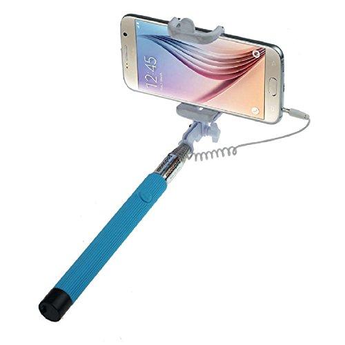 ARTLU® Selfie-Stange Selfie-Stick Teleskop-Stange Selfie Stick in 9 verschiedenen Farben Monopod Selfie Einbeinstativ Ausziehbare Stick (Nein Bluetooth) mit Einstellbaren Klemme für Smartphones, iPhone, Samsung, Huawei, LG, Sony--blau