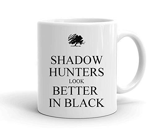 IDcommerce Shadow Hunters Look Better In Black Weißer Keramik-Becher für Tee und Kaffee (Shadow Hunters Mortal Instruments)