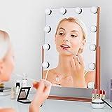 Ovonni Miroir Maquillage Miroir de Table Lumineux LED 3W Tactile Eclairage 12 Empoules LED, Miroir HD Cosmétique sur Pied Réglable Style Hollywood Chic Défilé Double Face Cadeau Or