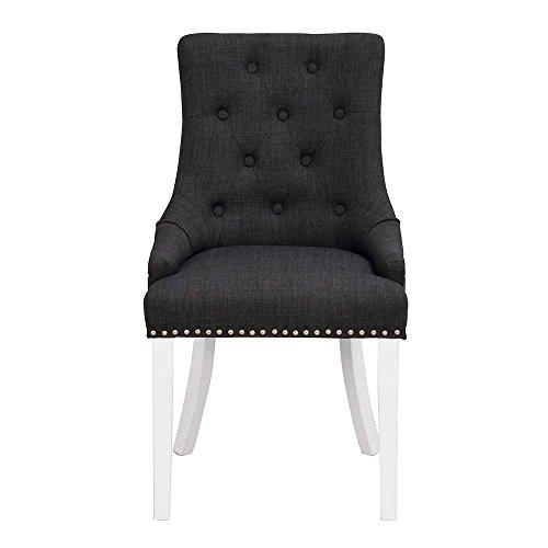 Pharao24 Chesterfield Stuhl in Anthrazit Stoff Weiß massiv