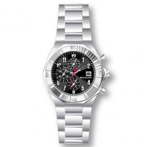 Thierry Mugler 4704904 - Reloj analógico de cuarzo para hombre con correa de acero inoxidable, color plateado