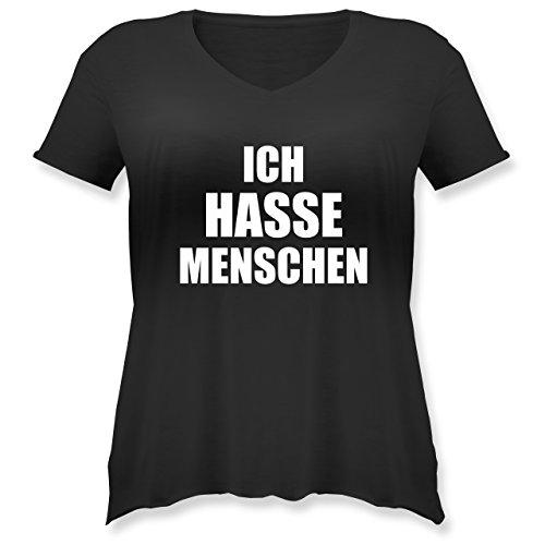 Statement Shirts - Ich Hasse Menschen - M (46) - Schwarz - JHK603 - Weit geschnittenes Damen Shirt in großen Größen mit V-Ausschnitt -