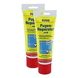 2x Pufas Fugen-Reparatur, weiß, je 400g - Fliesenfugen-Reparatur - Kunstharzspachtelmasse - Fugenreparatur