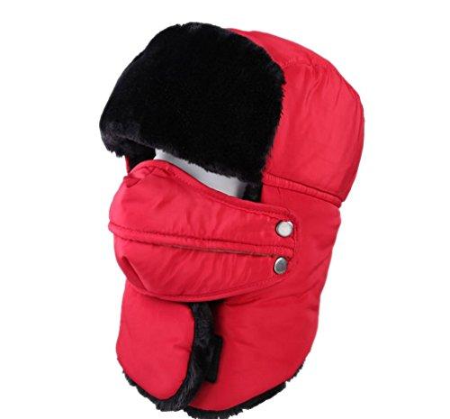 ACVIP Adulte Unisexe Chapka Chapeaux Cagoule de Hiver Anti-vent Anti-poussière Chaud Moto/Vélo Ski /Protection Visage Oreilles Bonnets Rouge