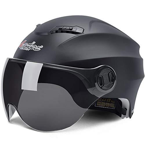 LTKKK Fahrradhelm,Tragbarer halb bedeckter Helm-Sonnenschutz des elektrischen Motorradsturzhelm-Mannes und -Frauen-Sommers, schwarz,Belüftungsöffnungen Ultraleicht