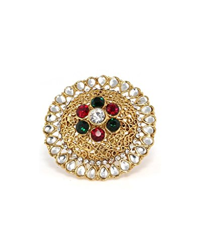 Bindhani Traditional & Ethnic Gold Plated Kundan Finger Ring For Women (Adjustable,Multi-Colour)  available at amazon for Rs.198