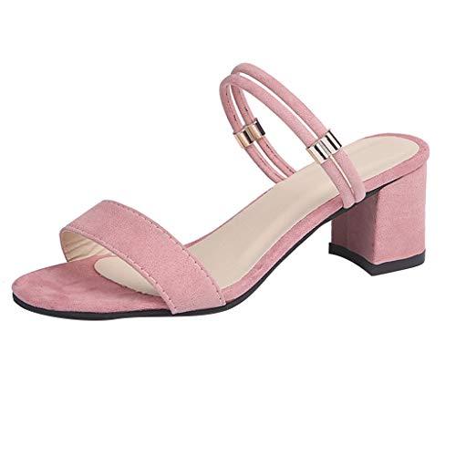 BASACASandalenDamenFrauenSandelholzeSchuheReine Farben Quadrat FrauHohen Absätzen Pantoffel Mode2019 (38 EU, Pink) (Baby Touch Sommer-monitor)