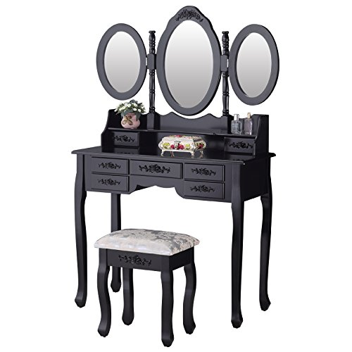 mecor Luxuriös Schminktisch, Schwarz Kosmetiktisch inkl. 3 Abziehbarer Spiegel, Hocker und 7 Schubladen
