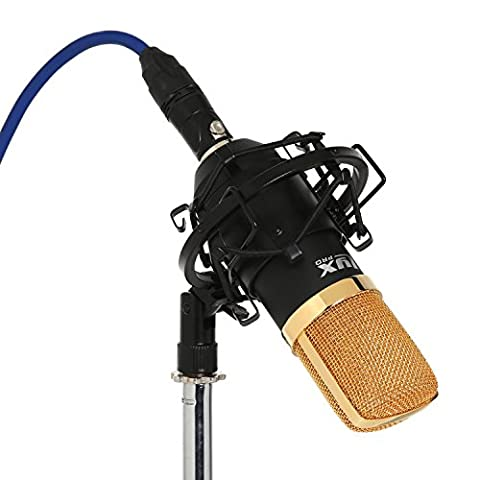 LyxPro LDC-20 Large Diaphragm Cardioid Condenser Studio Microphone, Shockmount, Foam Windscreen &
