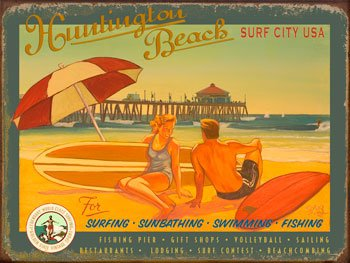 Huntington Beach Surf City Metal Sign: Surfing and Tropical Decor Wall Accent by OMSC (Wall Surf Sign)