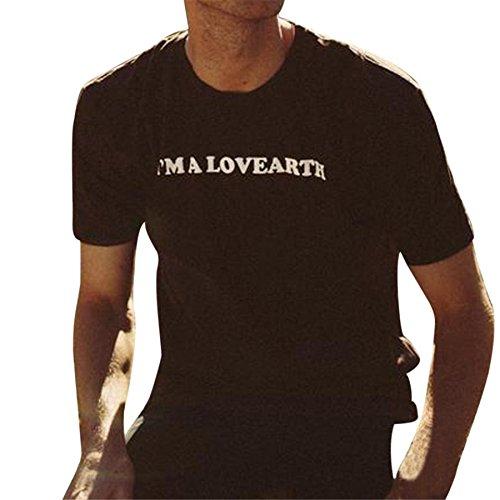Mens Long Sleeve Thermal Tee (BURFLY Black Couple T-Shirts Druck Tees Shirt Kurzarm Blouse_I'm A LOVEARTH Für Valentinstag Kleidung (XL, ❤️ Men's Black))