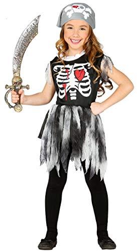 Fancy Me Mädchen Skelett Halloween Pirat Geisterschiff Kostüm Kleid Outfit 3-12 Jahre - Schwarz, 10-12 Years, - Geisterschiff Pirat Kind Kostüm