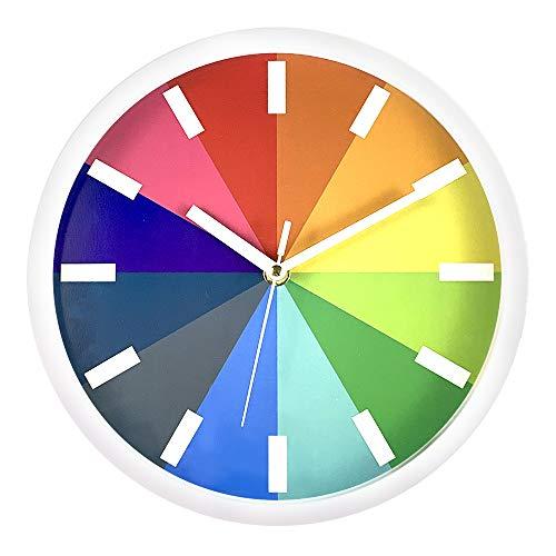 Ufengke orologio da parete colorato creativo particolari orologio da muro al quarzo, diametro 25 cm