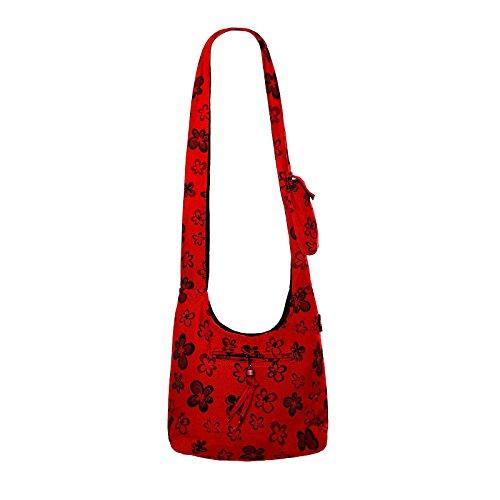Kunst und Magie Schulter-Umhänge-Tasche mit Blumen Design Lemongrün / Lemongreen