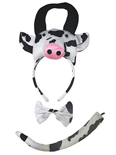 Petitebelle 3D-Stirnband Bowtie Schwanz Kostüm für Erwachsene Einheitsgröße 3d Kuh (Kuh Schwanz Kostüm)
