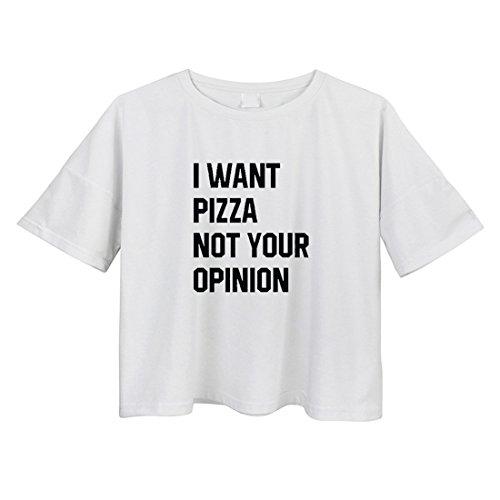 BLACKMYTH Damen Kurzarm Crop T-shirt Rundkragen Baumwolle Bedruckte Lose Frauen Tops Weiß