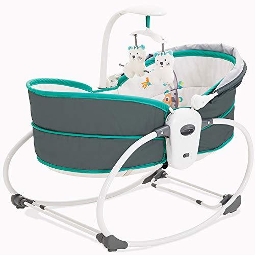 OLDF Tragbarer Prahler, Baby-to-Toddler Rocker Baby Wiege Gleiten Swing und Sleeper Einfache Sway Abnehmbar mit Musik und Spielzeug Baby Cradle,Blue