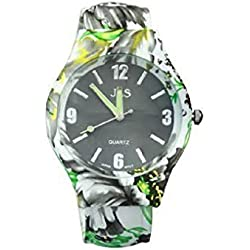 Ladies Floral Pattern Black & Green Beautiful Round Face Bracelet Bangle Watch With Extra Battery