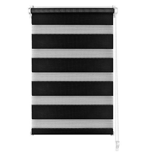 S SIENOC Doble persiana Enrollable Duorollo Estor Enrollable Doble Tejido Persiana para Las Ventanas de Oficina Estar Dormitorio (Negro, 80x150 cm)