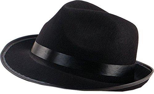 Erwachsene Verkleidung Kostümparty Kopfbedeckung Mafia Gangster Blues Filzhut Schwarz One Size