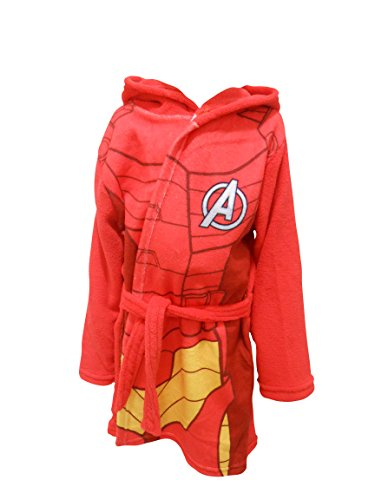 Iron Man Marvel Avengers Kinder Mit Kapuze Fleece Bademantel Bademantel - Rot, 92-98 (Iron Man-kleid)