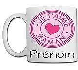 Linyatingoshop Mug Je t'aime Maman - Personnalisation avec prénom - Idée Cadeau