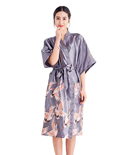 GL SUIT para Mujer camisón satén de Las señoras Traje del Kimono de Tiras Camisón Albornoz Vestido...
