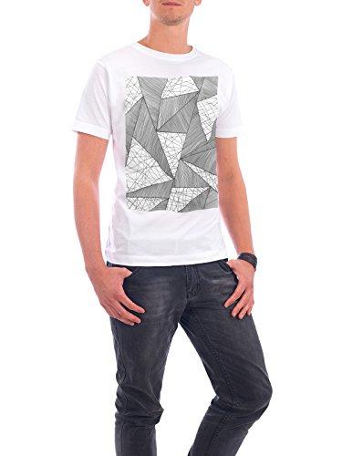 """Design T-Shirt Männer Continental Cotton """"Grid Triangles"""" - stylisches Shirt Abstrakt Geometrie Fashion von Sarah Plaumann Weiß"""
