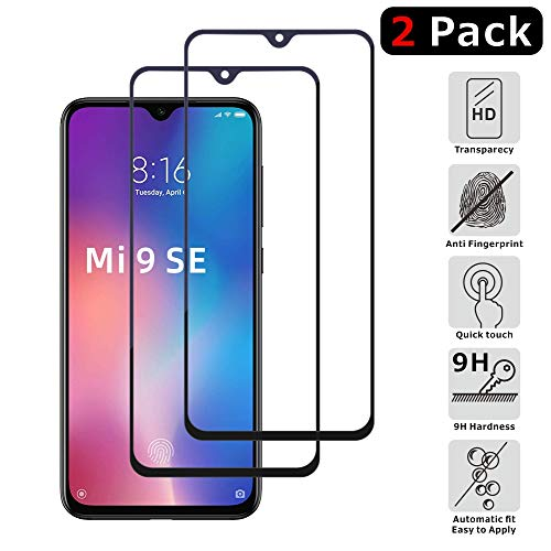 FMPC [2-Pack Protector Pantalla Xiaomi Mi 9 SE, Cristal Vidrio Templado Premium [Vidrio Importado japonés], [3D Borde Redondo] [9H Dureza] [Alta Definicion] para Xiaomi Mi 9 SE