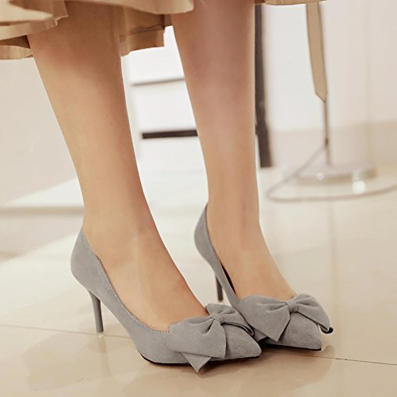 Pajarita high-Heel Shoes y versátil bajo las zapatas bien con 5cm de satén, con zapatos de mujer ,38, gris de...