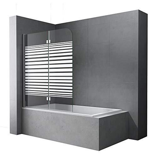 Faltwand Badewanne 120x140cm Badewannenaufsatz Duschwand 180° ESG Teilsatiniert NANO C1408SL Mai&Mai