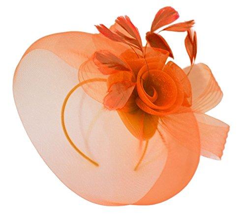 7c66e5ddd3107 Caprilite Orange Fascinator Headband Veil Wedding Ascot Races Net Hat  Feathers Hatinator