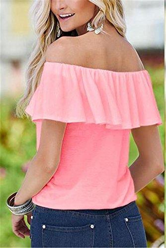 AILIENT Sexy Femme T-Shirt ÉLÉGante À Col Plat DÉBardeur Epaule Nue Blouse Chic Chemise Hauts Hipster Tops Shirts Avec Volants pink