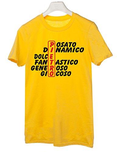 Tshirt compleanno con nome Pietro e aggettivi simpatici - idea regalo - Tutte le taglie Giallo
