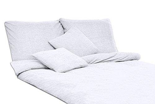 Bettwäsche Set Frottee einfarbig schöne Farben viele Größen (135x200+1x80x80, weiß)