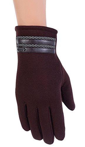 BaiX Men's Warm Winter Velvet Touchscreen Gloves Outdoor Cycling Gloves #B-Brown