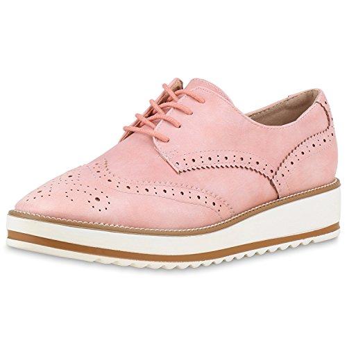 Japado - Zapatos de vestir brogues Mujer , color rosa, talla 40 EU