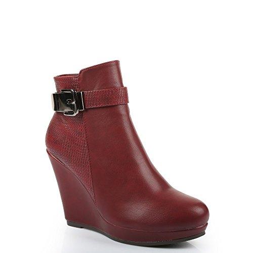 """Ideal-Scarpette Shoes cinturone e compensate con parte, effetto rettile """"Daphnée Rosso (rosso)"""