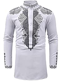 BUSIM Men's Long Sleeve Shirt Autumn Winter Luxury African National Style Print Casual Slim T-Shirt Tops Personality...
