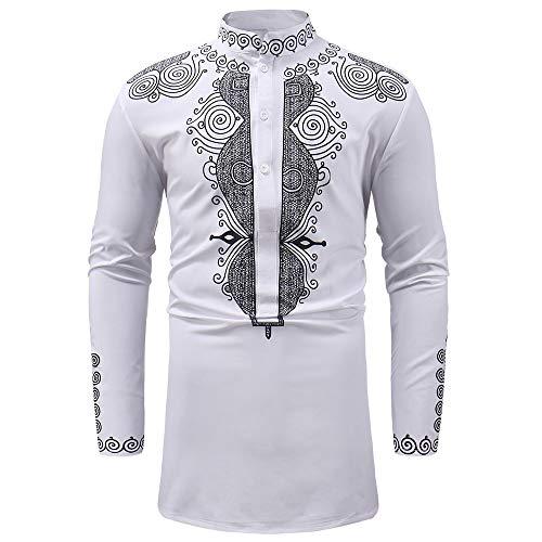 BHYDRY Herren Herbst Winter African Print Langarm Dashiki Shirt Top Bluse