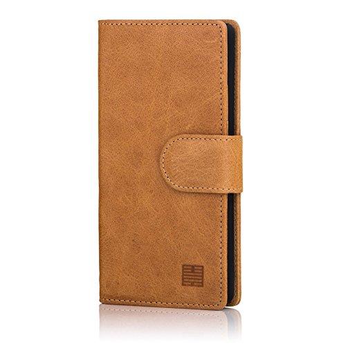 32nd Premium Series - Leder Mappen Hülle Case Flip Cover für LG G5, Entwurf gemacht Mit Kartensteckplatz, Magnetverschluss und Standfuß - Camel -