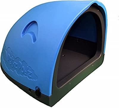 PetzPodz POD MEDIUM for puppy, dog and chicken designer blue plastic dog crate, cave & den, dog kennel house igloo for indoor and outdoor use dog pen and dog home