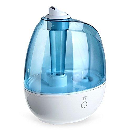 Luftbefeuchter Ultraschall TaoTronics Raumbefeuchter mit 2L Wassertank für 24 Stunden Betriebszeit, Lautloser-Betrieb, One-Touch-Steuerung und 360° Düse für ideale Nebelverteilung